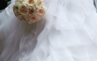 Wedding dress with ruffles – work in progress.