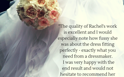 White ruffles wedding dress testimonial