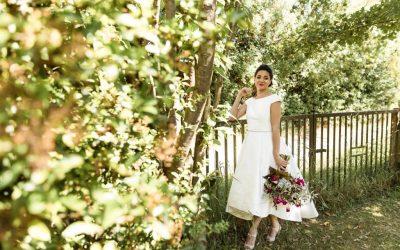 Summer Photo Shoot: Anna tea-length wedding dress by Rachel Lamb Design